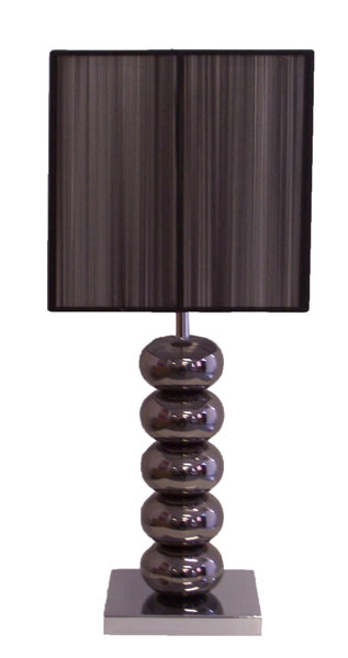 Table Lamp - Black Chrome & Weave