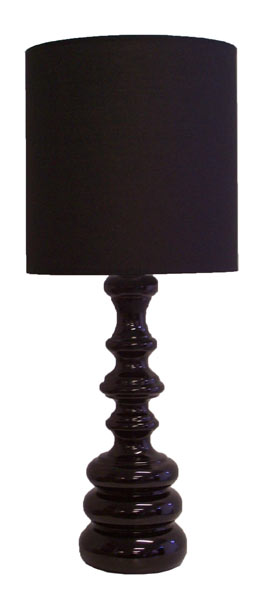 Table Lamp - Black Glass & Fabric