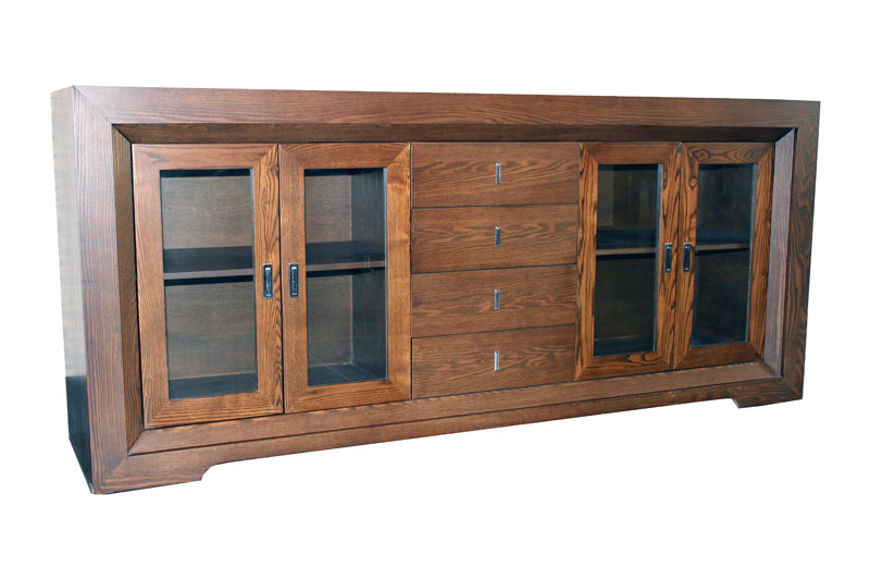 'Byron Bay' Four Door Four Drawer Sideboard with Glass Doors